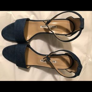 Manolo Blahnik wooden heeled denim sandals